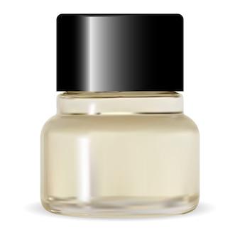 Butelka z lakierem do paznokci, okrągły pusty pojemnik kosmetyczny