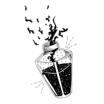 Butelka z mikstury zdrowia, trucizny i mikstury liści ręcznie rysowane ilustracji