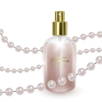 Butelka z płynem w kolorze perłowym