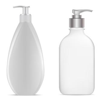 Butelka z pompką. butelka z dozownikiem. białe plastikowe butelki na balsam do rąk, szablon dla zwierząt domowych. puste opakowanie na żel lub szampon z dozownikiem z pompką. można zaprojektować realistyczny balsam do włosów