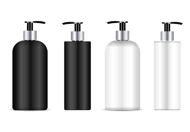Butelka z pompką. butelka z dozownikiem kosmetyków do szamponu, plastikowy pojemnik na balsam. pusty szablon płynu antybakteryjnego. szablon puszki nawilżającej. plastikowe opakowanie na środek czyszczący