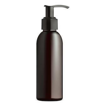 Butelka z pompką do żelu do ciała, mydła. czarna makieta na plastikową tubę dozownika. opakowanie kremu do skóry na białym tle