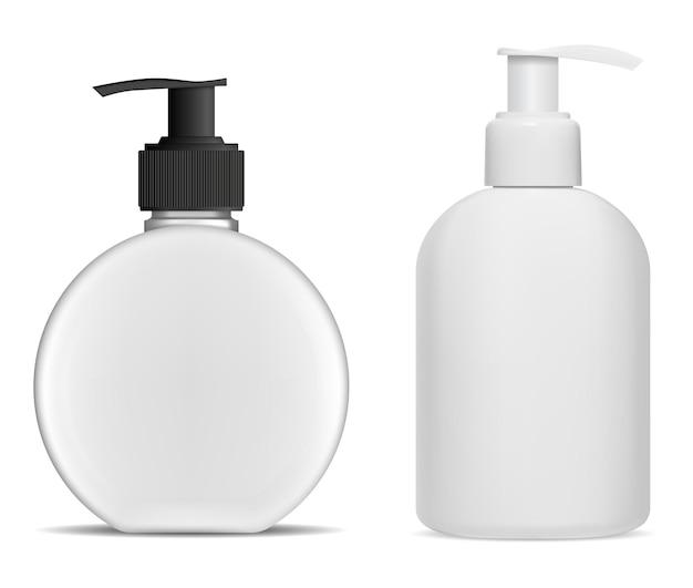Butelka z pompką z białego plastiku. butelka z dozownikiem mydła, konstrukcja pojemnika na płynny żel pod prysznic. ilustracja na opakowaniu środka nawilżającego, detergent antybakteryjny. produkt do higieny twarzy