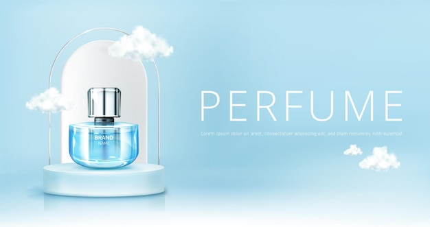 Butelka z rozpylaczem perfum na podium z chmurami na niebie makiety banera. makieta szklanej kolby na niebieskim tle nieba. zapachowa reklama promocyjna produktu kosmetycznego, realistyczna ilustracja wektorowa 3d
