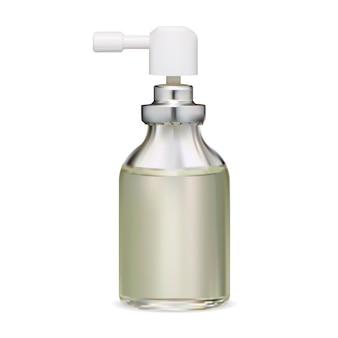Butelka z rozpylaczem. puste opakowanie inhalatora do gardła, 3d