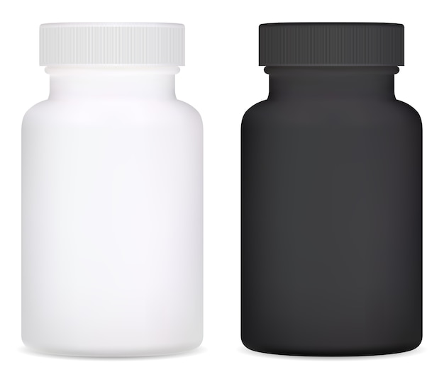 Butelka z suplementem. ilustracja plastikowa butelka pigułki witaminy