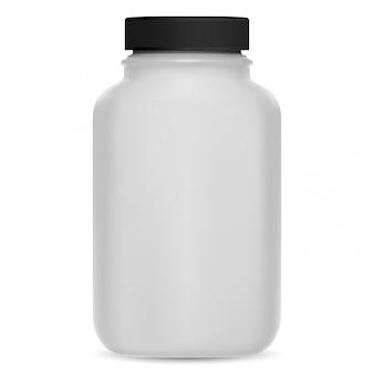 Butelka z suplementem. makieta pakietu 3d pigułki witaminy