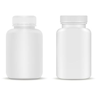 Butelka z suplementem. plastikowy słoik z kapsułkami na witaminę