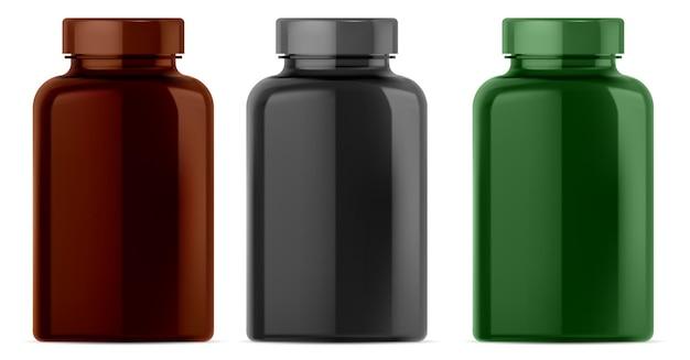 Butelka z suplementem. słoik na pigułki witaminowe. puste opakowania farmaceutyczne na białym tle, brązowe, czarne. butelka z kapsułką do odżywiania sportowego, bursztynowy pusty szablon szablonu, złożone opakowanie