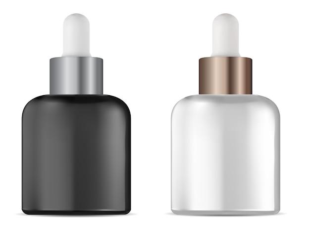 Butelka z zakraplaczem. fiolka z kroplomierzem do serum kosmetycznego. naturalne leczenie płynne opakowanie puste, na białym tle.