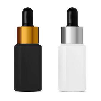 Butelka z zakraplaczem i pipetą. konstrukcja pojemnika na olej kosmetyczny. fiolka do zabiegu kolagenowego na twarz. czarno-biała kolba z zakraplaczem ze srebrno-złotą nakrętką
