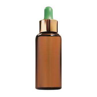 Butelka z zakraplaczem kosmetycznym. brązowy szklany złoty zakraplacz serum z esencją