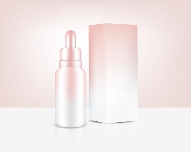 Butelka z zakraplaczem realistyczne różowe złoto perfumy olejku kosmetyczne i pudełko na ilustracji tła produktu do pielęgnacji skóry. opieka zdrowotna i koncepcja medyczna.