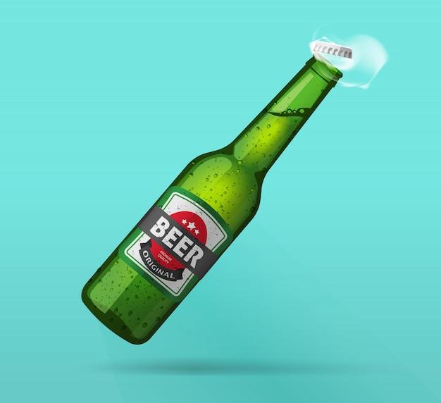 Butelka zimnej butelki piwa otwarte świeże realistyczne