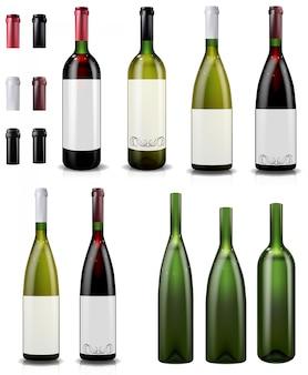 Butelki czerwonego i białego wina.