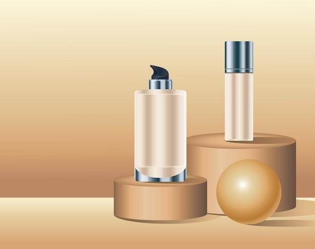 Butelki do pielęgnacji skóry z ilustracją złotej kuli