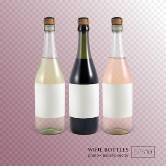 Butelki do wina czerwonego, białego i różowego na przezroczystym te butelki wina można umieścić tylko jeden