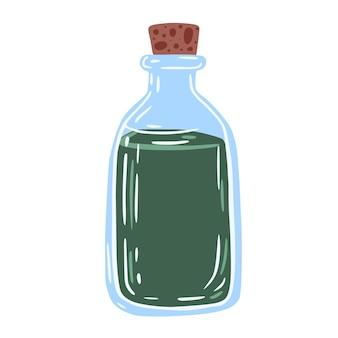 Butelki eliksiru na białym tle.