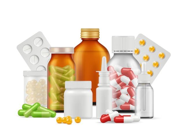 Butelki i pigułki medyczne. leki aspiryna leki antybiotykowe tabletki wektor realistyczne koncepcji opieki zdrowotnej