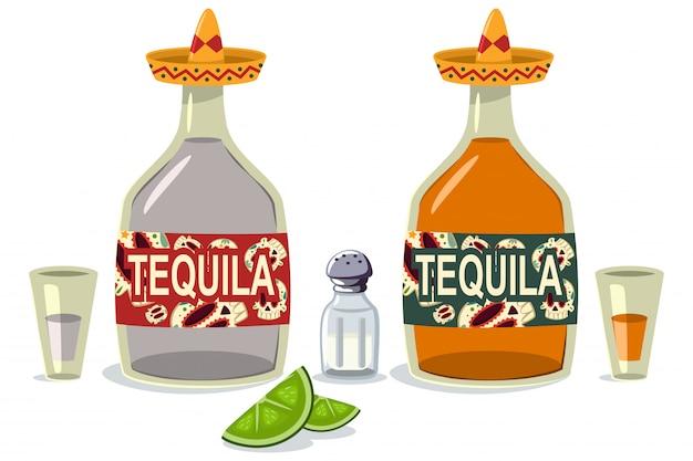 Butelki i szklanki tequili z plasterkami limonki i solą. kreskówka płaskie ikony meksykańskiego napoju alkoholowego na białym tle na białym tle.