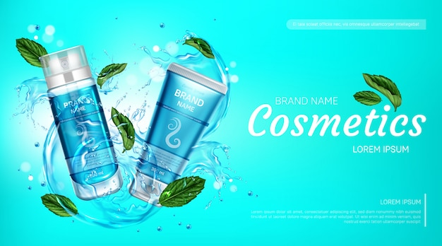 Butelki kosmetyczne, baner reklamowy, pianka do golenia i krem