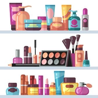 Butelki kosmetyczne na półkach sklepowych. kobieta piękna i opieki wektor koncepcja
