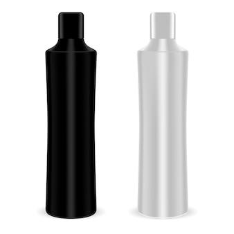 Butelki kosmetyczne pakują czarne i srebrne pojemniki