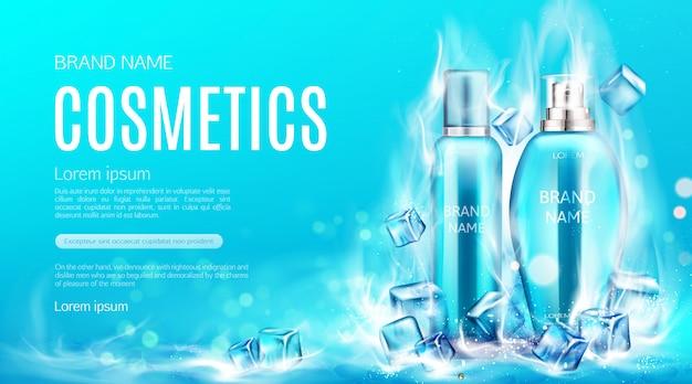 Butelki kosmetyczne w kostkach na parze z suchym lodem