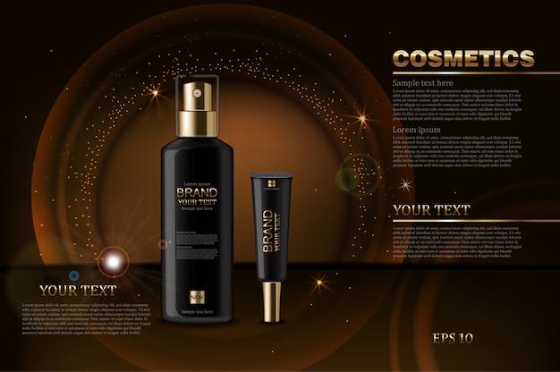 Butelki kosmetyków czarny makiety