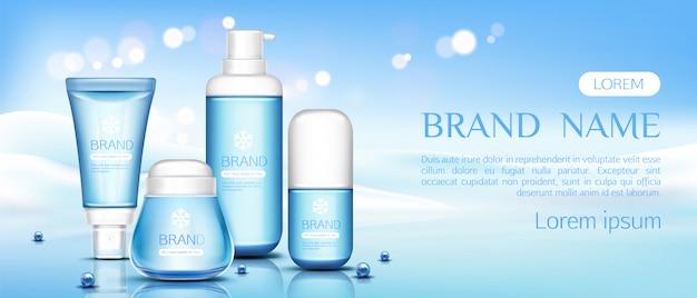 Butelki kosmetyków kosmetycznych