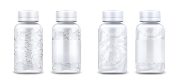 Butelki medycyny z pigułek i jasne kapsułki na białym tle. wektor realistyczna makieta szklanego lub plastikowego przezroczystego pojemnika z pustą etykietą i pokrywką. 3d słoiki z lekami