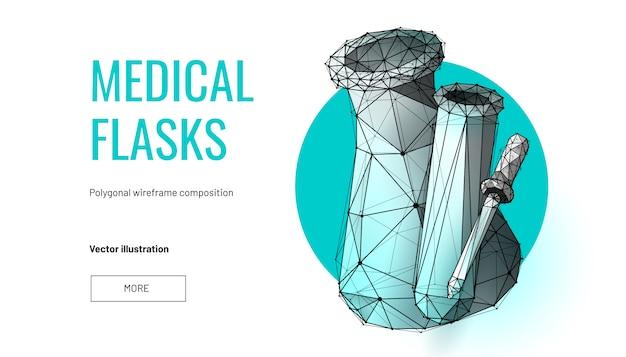 Butelki medyczne. model szkieletowy z niskim poli