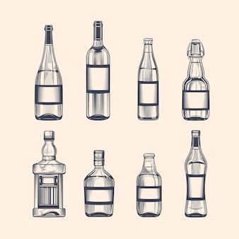 Butelki na alkohol ustawione w stylu grawerowania