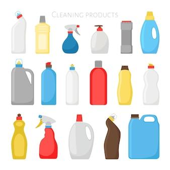 Butelki na artykuły gospodarstwa domowego. wektor zestaw do czyszczenia plastikowych opakowań do domu, detergent do czyszczenia obiektów sprzątania na białym tle