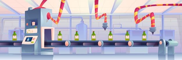 Butelki na przenośniku taśmowym w fabryce. produkcja w opakowaniach szklanych kolb poruszających się po linii transportera z ramionami robotów. proces automatyzacji, inteligentni asystenci robotów przemysłowych