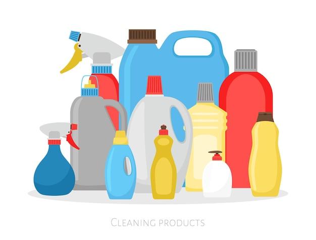 Butelki na środki czystości. zestaw do pakowania na białym tle z tworzywa sztucznego, obiekty sprzątające do czyszczenia detergentów