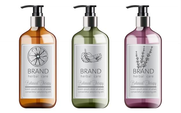 Butelki organicznego szamponu z ziołową pielęgnacją. różne rośliny i kolory. mięta, pomarańcza i lawenda