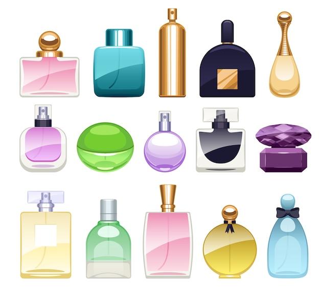 Butelki perfum ikony zestaw ilustracji. woda perfumowana. woda toaletowa.