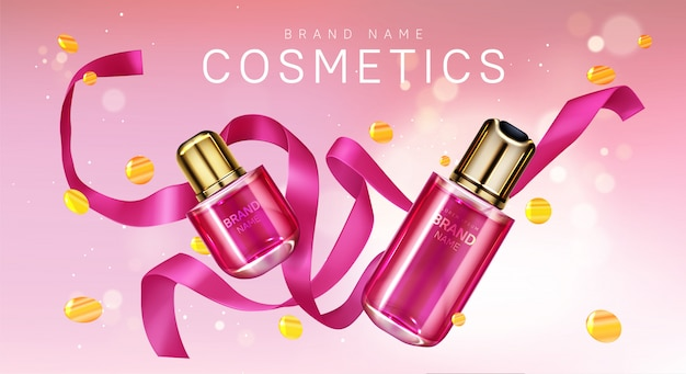 Butelki perfum z różową wstążką i konfetti
