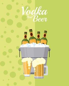Butelki piwa wewnątrz wiadro lodu