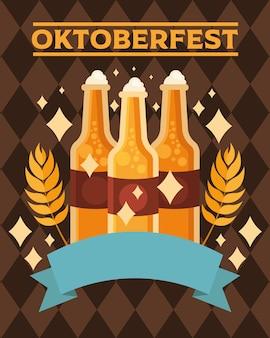 Butelki piwa ze wstążką, niemiecki festiwal oktoberfest i motyw uroczystości