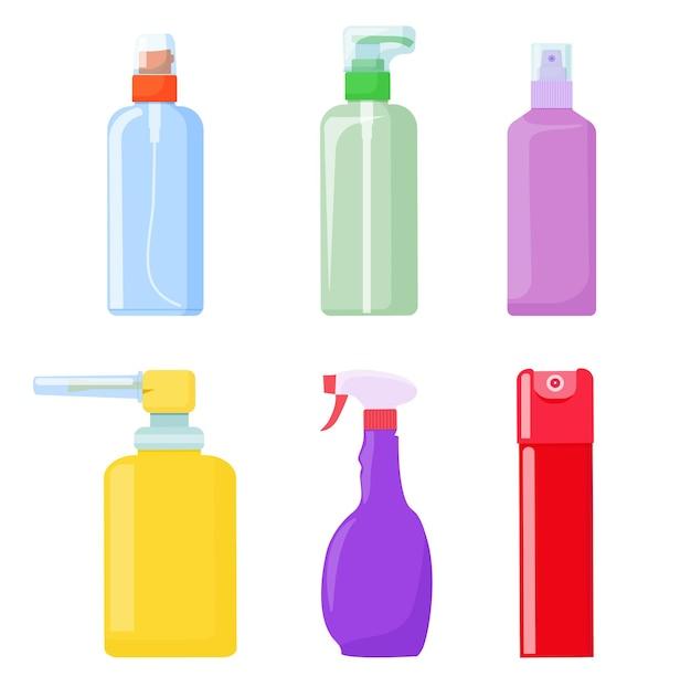 Butelki plastikowe z dozownikiem. pojemniki z pistoletem natryskowym. wektor