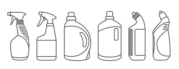 Butelki produktów czyszczących.