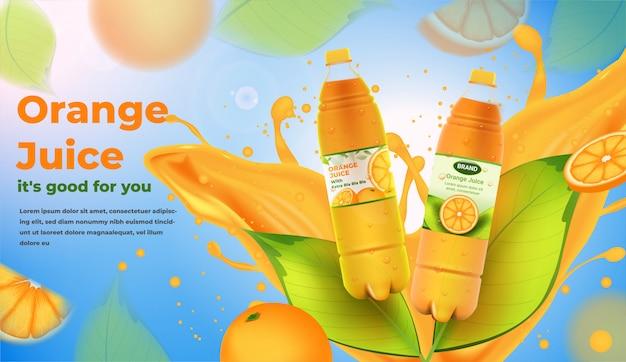 Butelki soku pomarańczowego z rozpryskami reklam soków