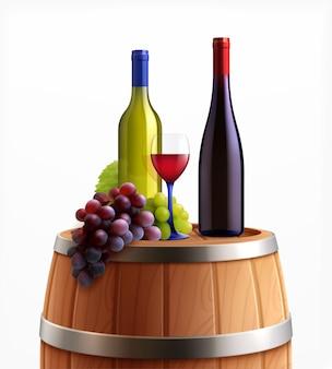 Butelki wina na drewnianej beczce z winogronami