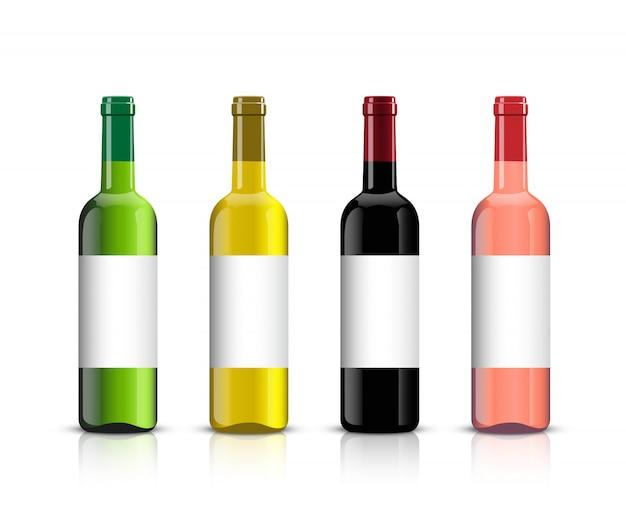 Butelki wina z cieniami i odbiciem lustrzanym na białym tle.