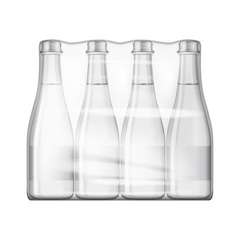 Butelki wody mineralnej niegazowanej lub gazowanej ustawione na makiety. na białym tle
