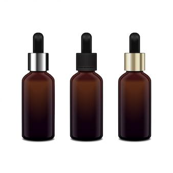 Butelki z brązowego szkła na olejki eteryczne. różne czapki. butelka kosmetyczna lub butelka medyczna, kolba, ilustracja butelki