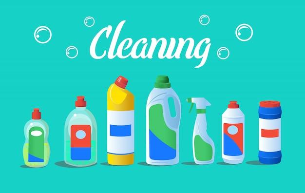 Butelki z detergentem do czyszczenia. koncepcja dla firm sprzątających. ilustracja wektorowa kreskówka płaska.