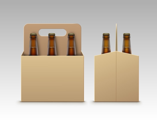 Butelki z jasnego ciemnego piwa z opakowaniem na białym tle